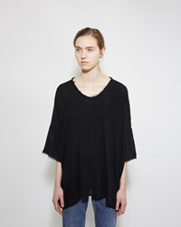 Raquel Allegra Raw Silk Boxy Tee Black