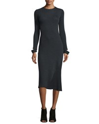 Helmut Lang Detached Cuff Knit Midi Dress Heather Gray