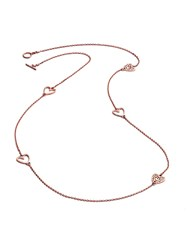 Chavin Rose Gold Five Charm Heart Necklace Rose Gold