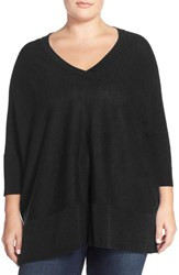 Plus Size Women's Sejour Dolman Sleeve V Neck Pullover Black