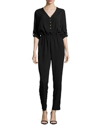 Jb By Julie Brown Long Sleeve Chiffon Jumpsuit Black