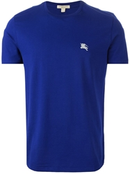Burberry Brit Logo Embroidered T Shirt Blue