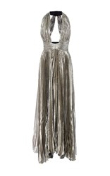 Maria Lucia Hohan The Adina Halter Neck Midi Dress Silver