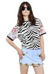 Ungaro Printed And Waxed Cotton T Shirt Black White