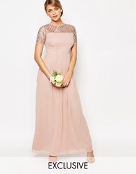 Maya Chiffon Maxi Dress With Embellishment Pale Mauve Pink
