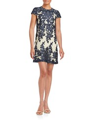 Vera Wang Embroidered Mesh Dress Navy Natural