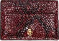 Alexander Mcqueen Burgundy Python Embossed Card Holder