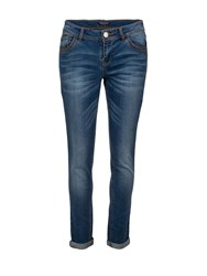 Morgan Cropped Cotton Patterned Jeans Denim Stonewash