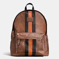 Coach Modern Varsity Campus Backpack In Sport Calf Leather Black Antique Nickel Dark Saddl