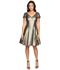 Nue By Shani Fit And Flare Metallic Dress With Sleeves Gold Women's Dress
