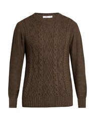 Inis Meain Aran Knit Alpaca And Silk Blend Sweater Brown Multi