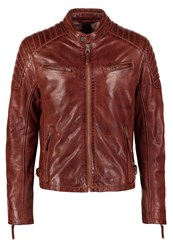 Gipsy Chester Leather Jacket Dark Cognac Brown
