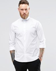 Noose And Monkey Skinny Shirt With Cut Away Collar With Stretch White