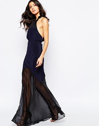 The Stone Cold Fox Aquarius Maxi Dress In Navy Silk Navy