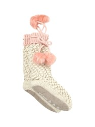 White Stuff Tipped Popcorn Slipper Sock White