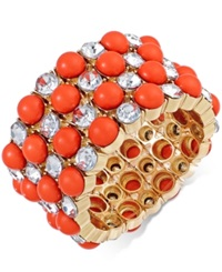Inc International Concepts Gold Tone Coral Bead And Crystal Stretch Bracelet