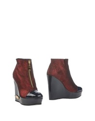 Galliano Ankle Boots Maroon
