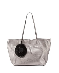 Etienne Aigner Turner Leather Tote Bag With Fur Key Chain Pewter Silver