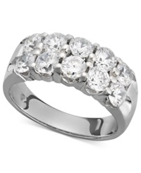 Macy's Two Row Certified Diamond Band Ring In 14K White Gold 2 Ct. T.W.