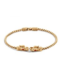 Naga 18K Gold Box Chain Bracelet John Hardy Red