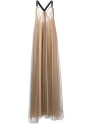 Vera Wang Flared Tulle Gown Nude And Neutrals