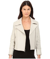 Yigal Azrou L Classic Moto Zip Leather Jacket Light Grey Ice Women's Coat Gray