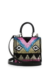 Les Petits Joueurs Beaded Fringe Leather Satchel Black Multi