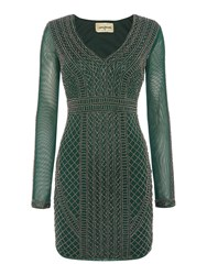 Lace And Beads Long Sleeved Beaded Bodycon Dress Green