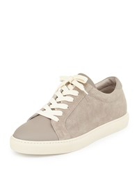 Brunello Cucinelli Men's Perforated Suede Low Top Sneaker Gray Size 45Eu 12D