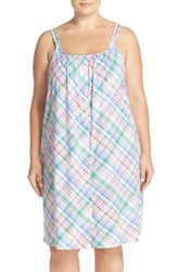 Plus Size Women's Lauren Ralph Lauren Cotton Jersey Chemise Plaid Coral Stripe Multi