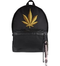 Palm Angels Large Embroidered Leaf Backpack Black