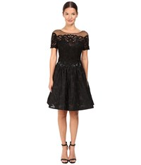 Marchesa Brocade Cocktail With Pockets Black
