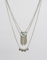 Pieces Beluna Multirow Necklace Silver