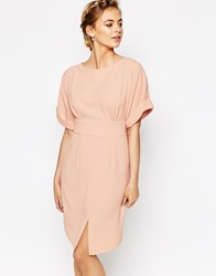 Closet Kimono Sleeve Midi Dress With Tie Back Detail And Split Front Nude