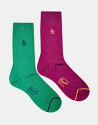 Original Penguin 2 Pack Socks Green