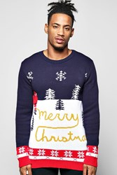 Boohoo Snow Merry Christmas Jumper Navy