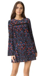 Cynthia Rowley Folky Floral Trapeze Dress Black
