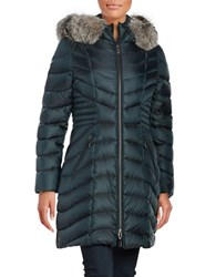 Dawn Levy Natural Fox Fur Trimmed Down Coat Green