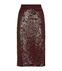 Pinko Sequin Pencil Skirt Female Burgundy