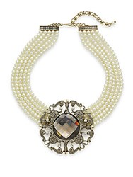 Heidi Daus More Than A Dream Swarovski Crystal Pendant Multi Row Necklace Pearl Brown