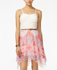 As U Wish Juniors' Crochet Printed Belted Dress Ivory Pink Combo