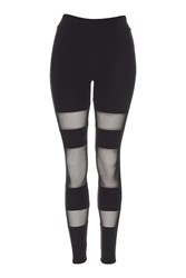 Topshop Mesh Panel Ponte Leggings Black