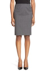 Boss 'Vilea' Plaid Stretch Wool Pencil Skirt Chinchilla Grey