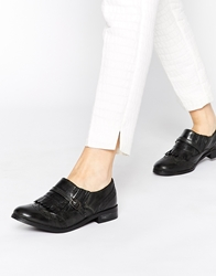 Ravel Kiltie Buckle Leather Flat Shoes Blackleather