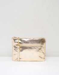 Oasis Leather Cross Body Bag Gold