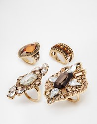 New Look Jewelled Ring Pack Gold