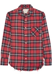 R 13 R13 Inside Out Plaid Cotton Flannel Shirt Tomato Red