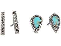 Lucky Brand Turquoise Bar Stud Earrings Set Silver Earring
