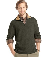 G.H. Bass And Co. Big And Tall Sherpa Lined Mock Neck Sweater Fleece Olive Night Heather