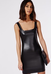 Missguided Cherish Faux Leather Bodycon Dress Black Black